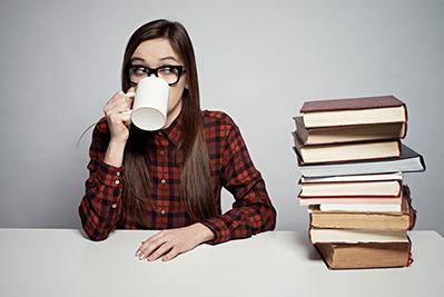 Woman taking a coffee break