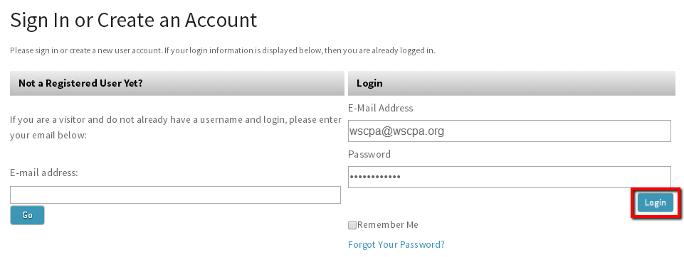 image of blue login button